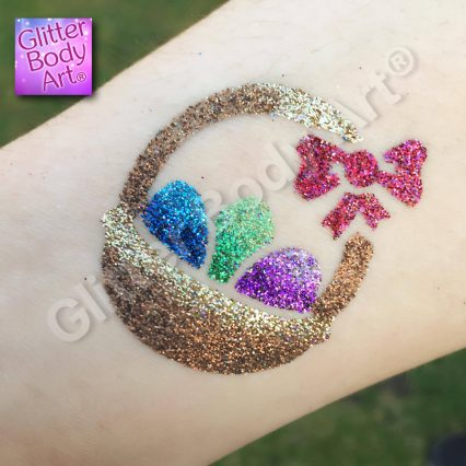 easter eggs in a basket temporary tattoo stencil, easter glitter tattoo,