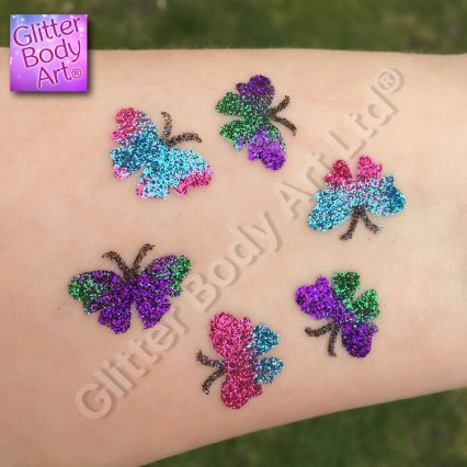 butterfly temporary tattoos for kids, cute baby butterflies in a circle glitter tattoo