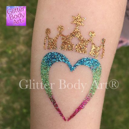 heart with a crown glitter tattoo, heart temporary tattoo
