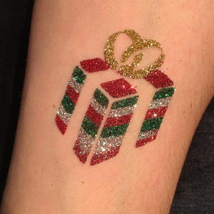 christmas present glitter tattoo, temporary tattoo stencil
