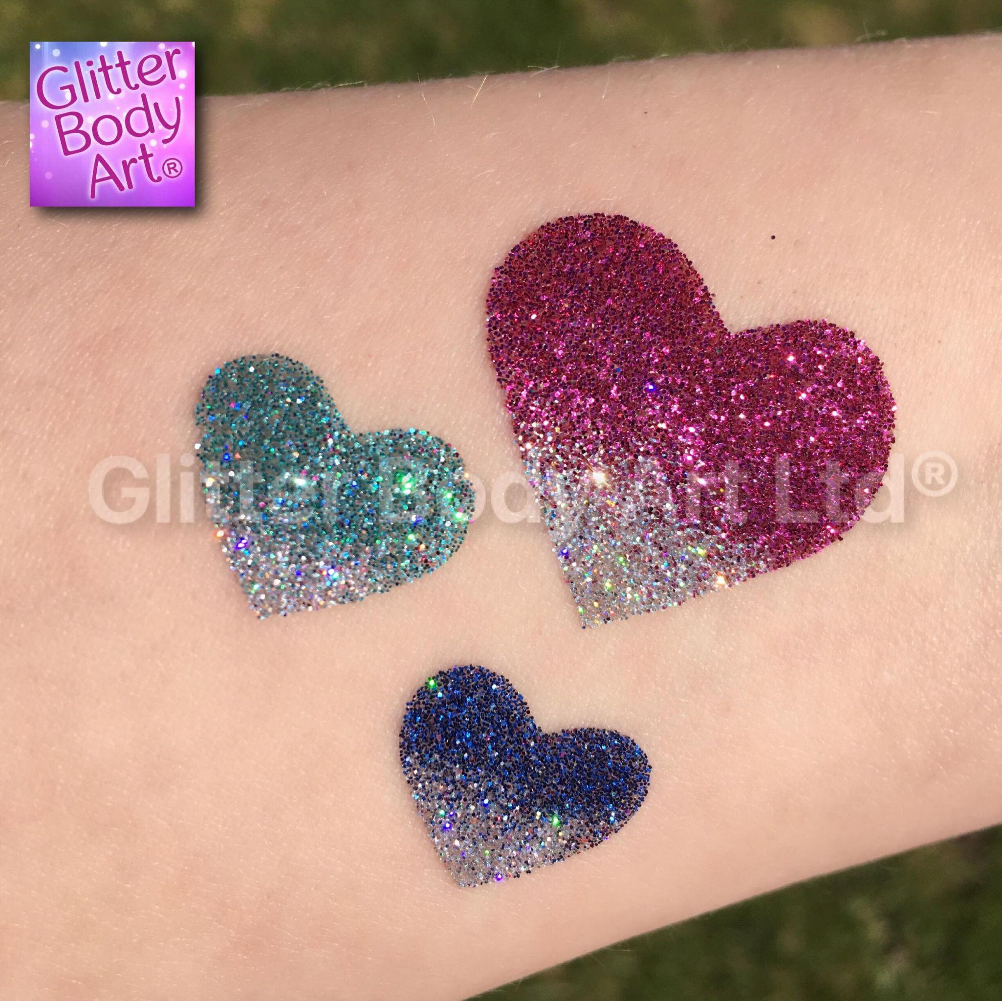 triple heart temporary tattoo stencil, heart glitter tattoos for kids