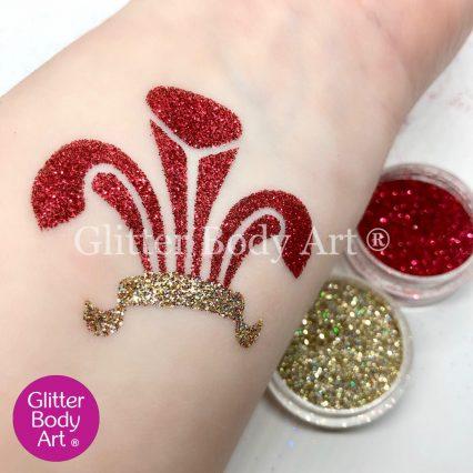 Welsh Three Feathers emblem temporary tattoo stencil, welsh rugby glitter tattoo, st davids day tattoos