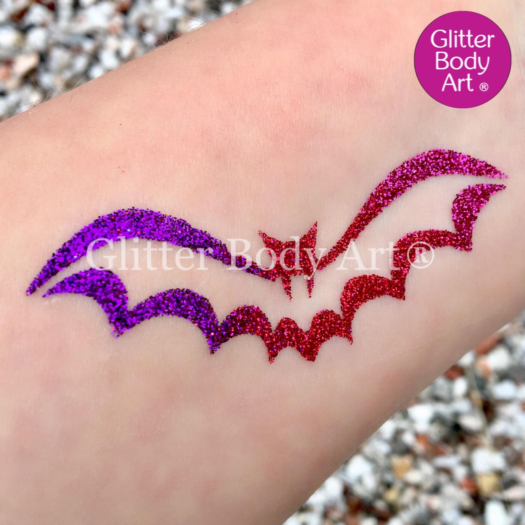 Halloween Bat temporary tattoo stencil, bat glitter tattoo
