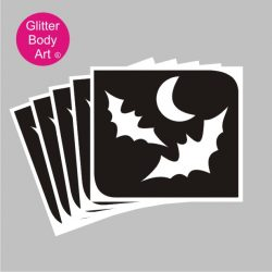 two flying bat with moon halloween temporary tattoo