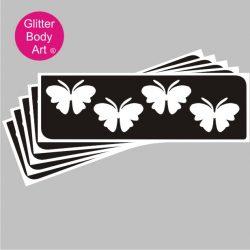 4 pretty butterflies in a row, temporary tattoo stencil