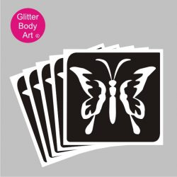 pretty butterfly temporary tattoo stencil with tear drop wings