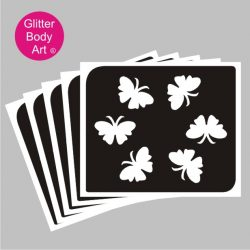 6 mini butterfly flying in a circle temporary tattoo stencil