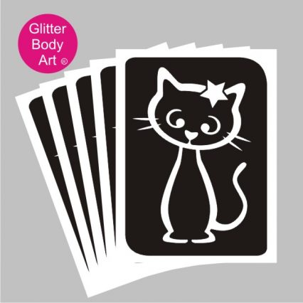 full body cat with star temporary tattoo stencils