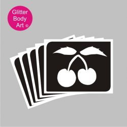 Pairs of cherries on a vine temporary tattoo stencil
