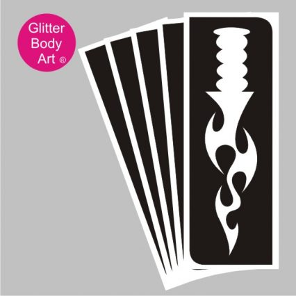 large dagger with flame blade temporary tattoo stencil