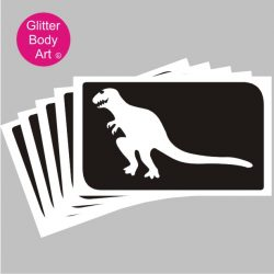 T-rex dinosaur temporary tattoos, reuseable stencils for dinosaur party