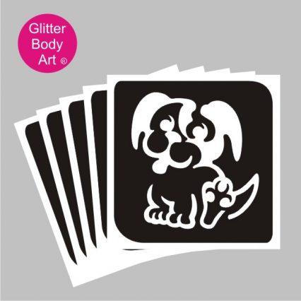 puppy dog temporary tattoo stencil
