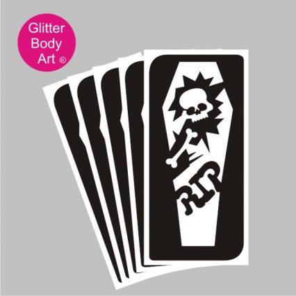 Halloween Coffin with Skelton temporary tattoo stencil