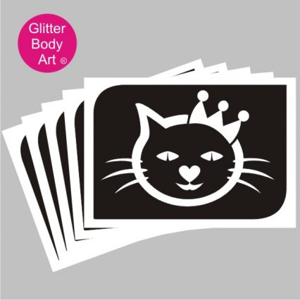 cute kitten with crown, princess cat temporary tattoo stencil