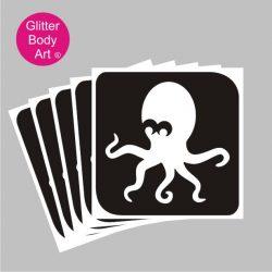 cute octopus temporary tattoo stencil, under the sea stencil