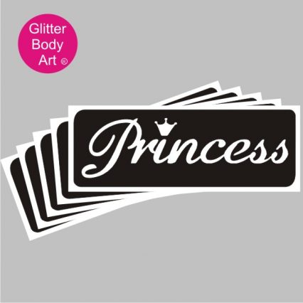 word art princess with a crown temporary tattoo stencil