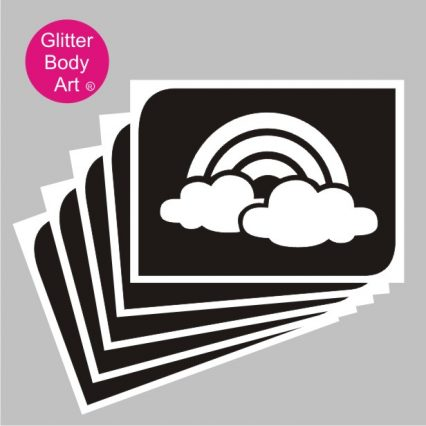 rainbow with clouds temporary tattoo stencil
