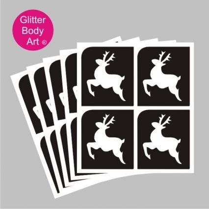 mini reindeer temporary tattoos stencil for glitter