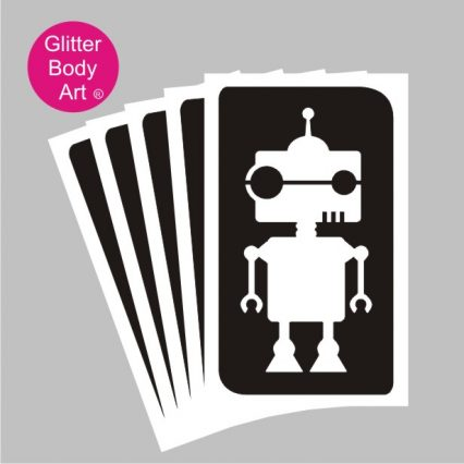 Robot temporary tattoo stencils pack of 5