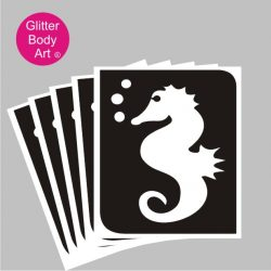 seahorse with bubbles temporary tattoo stencil
