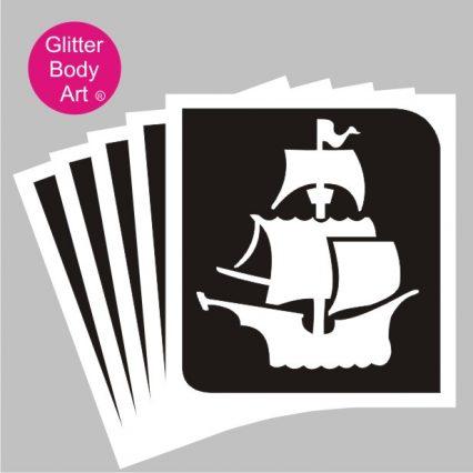 pirate ship temporary tattoo stencil, pirate sticker stencil