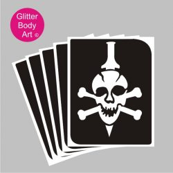 skull and bones with dagger through the head temporary tattoo stencil for halloween