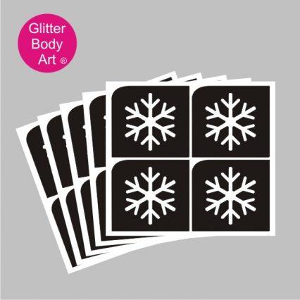 Mini snowflake temporary tattoos, sheet of 4 designs, packs of 5