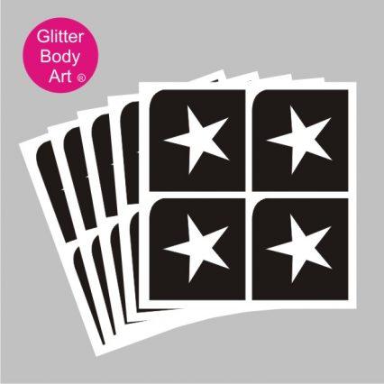four mini star temporary tattoo stencils