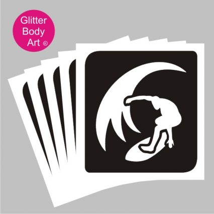 boy surfing in the waves stencil, surfer temporary tattoos