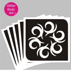swirly tribal design stencil for temporary tattoos