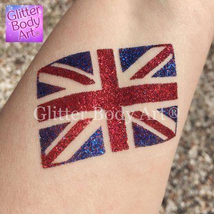GB Union Jack temporary tattoo, union jack glitter tattoo for kids