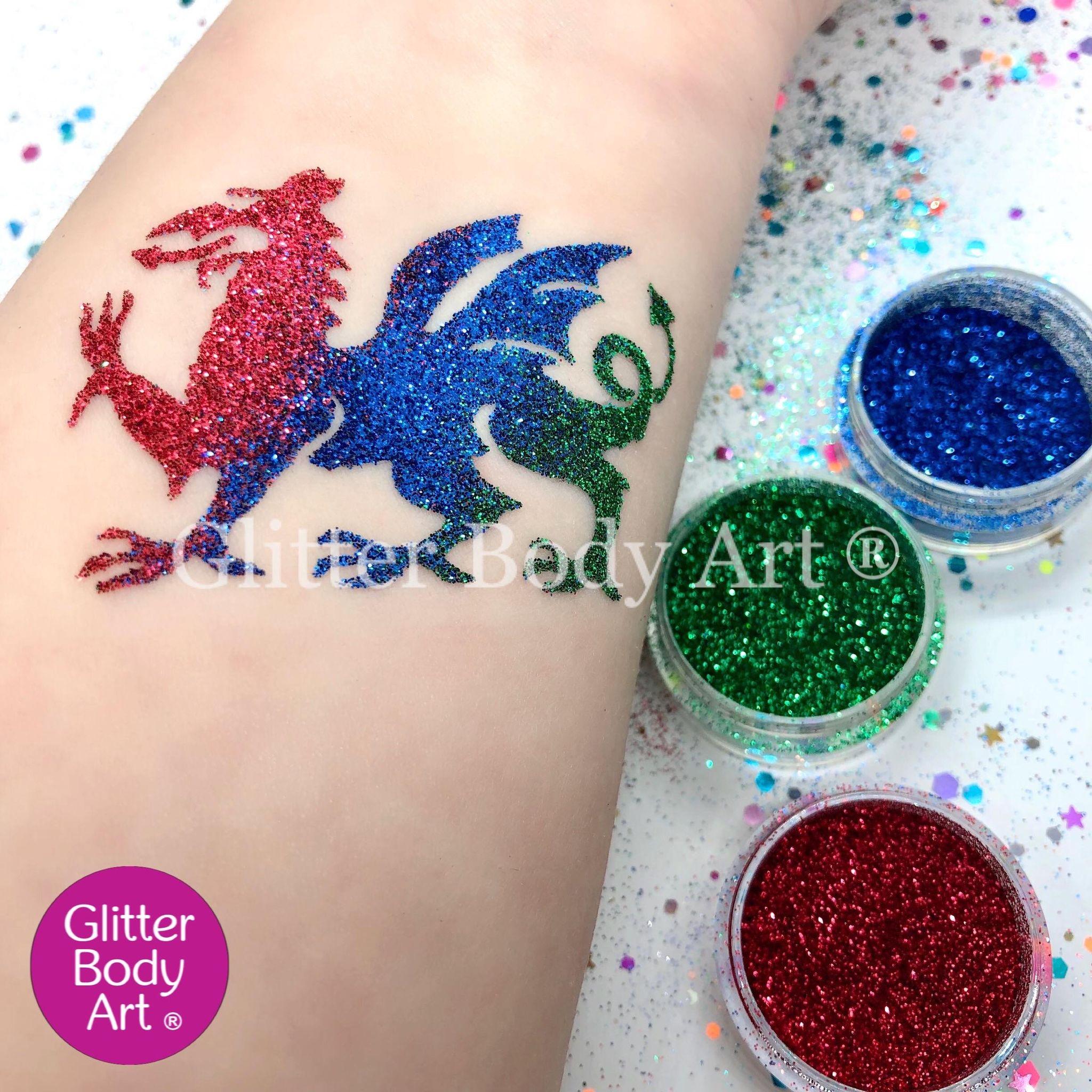 welsh dragon temporary tattoo stencil, dragon glitter tattoo for kids