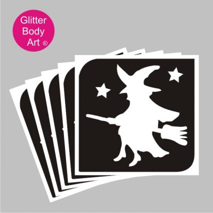 halloween witch on a flying broom temporary tattoo stencil