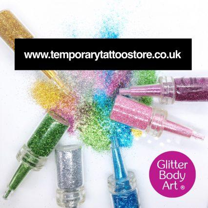 5 gram puffer bottles filled with loose glitter