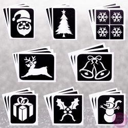 Christmas stencil designs, festive stencils, Christmas templates, Christmas Glitter Tattoos