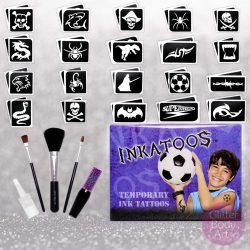 kids temporary tattoo kit, black body paint realistic looking tattoos, Inkatoo boys kit