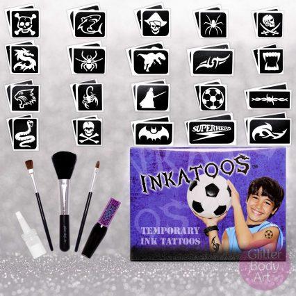 kids temporary tattoo kit, black body paint realistic looking tattoos, Inkatoo boys kit