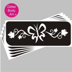 large butterfly temorary tattoo stencil and floral temporary tattoo stencil