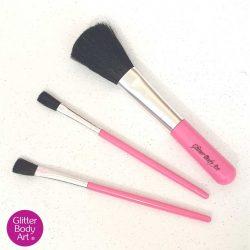 set of 3 pink makeup brushes for applying glitter
