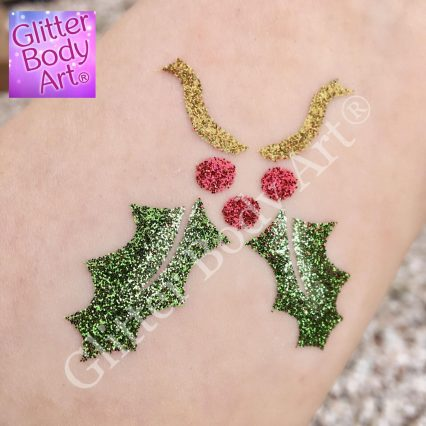 Christmas holly glitter tattoo stencill or Christmas temporary tattoos for kdis