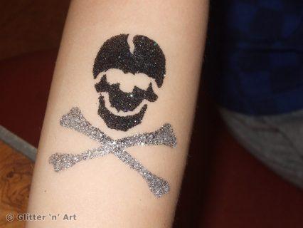 skull and bones temporary tattoo stencil, pirate glitter tattoos