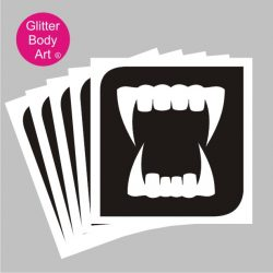 draculas fangs temporary tattoo stencils pack of 5 or 25