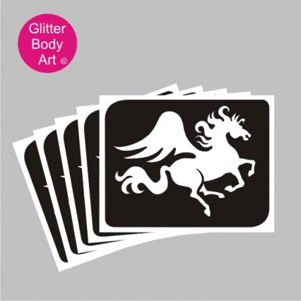 Pegasus flying horse temporary tattoo stencils