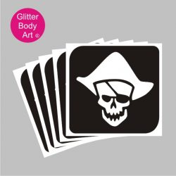 pirate skull with eyepatch and hat temporary tattoo stencil