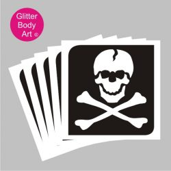 skull with crossbones temporary tattoo stencils pack of 5