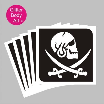pirate skull with swords temporary tattoo stencils