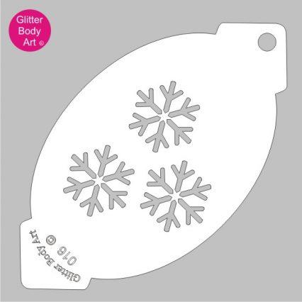 Triple snowflakes face paint stencil for facepainting, snowflake cake stencil, snowflake stencil template