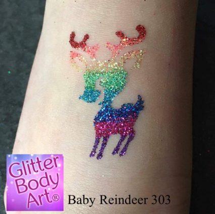 Baby Reindeer Christmas temporary tattoo stencil