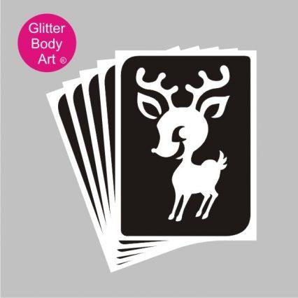 Baby reindeer temporary tattoo stencil for glitter tattoos