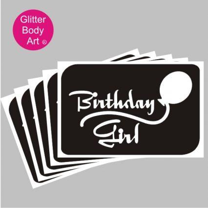 birthday girl temporary tattoo with balloon